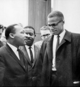 Martin Luther King, Jr. and Malcolm X meet before a press conference. Both men had come to hear the Senate debate on the Civil Rights Act of 1964. This was the only time the two men ever met; their meeting lasted only one minute. © Marion S. Trikosko | Library of Congress