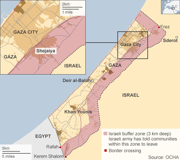 Map 3: The BBC map of the no-go zone at the end of July 2014 (Note: Map displayed on most BBC after July 23, 2014) © BBC | http://www.bbc.com/news/world-middle-east-28627888