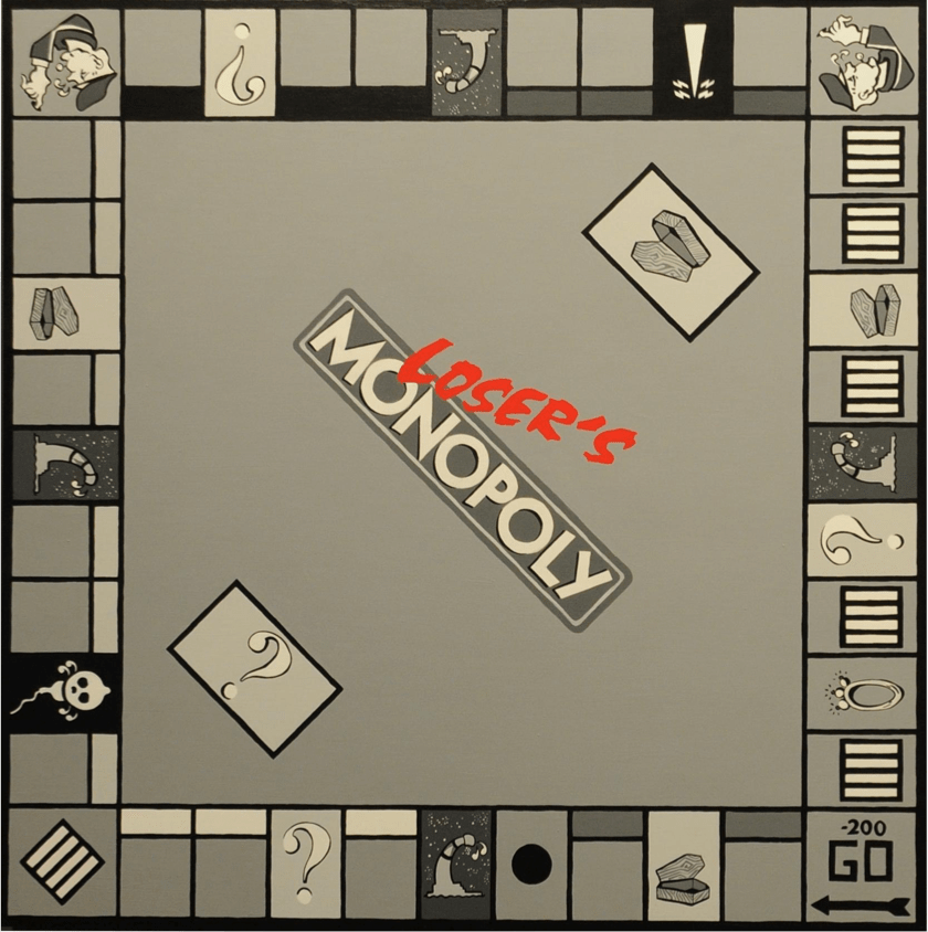 Roee Rosen, Loser's Monopoly 2, acrylic on plywood, 120X120cm, 2009. Courtesy of the artist