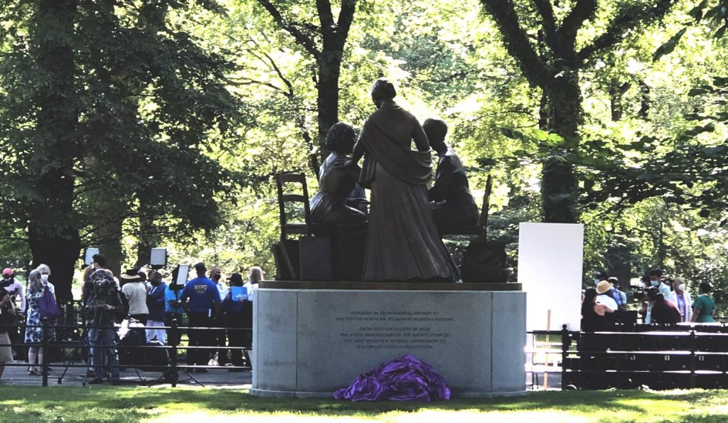 Women's Rights Pioneers Monument unveiling in Central Park, New York, August 26, 2020 (Photo: Lala Pop)