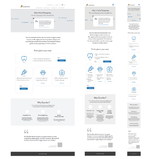 medium fidelity wireframe focuses on content organization and the user journey