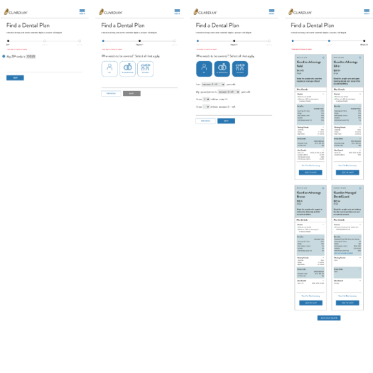 wireframe shows progression toward getting a quote