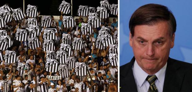Torcidas do Santos repudiam presença de Bolsonaro
