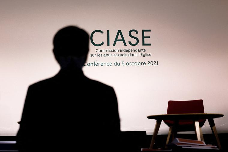 A picture taken Oct. 4 in Paris shows a view of a press conference room on the eve of the release of the CIASE report into sexual abuse by Church officials.