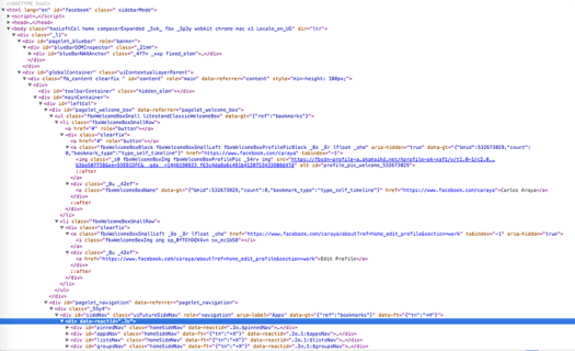 Screenshot of browser view source showing Source code for Facebook