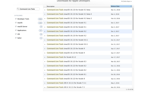 Command Line Tools For Xcode download screen