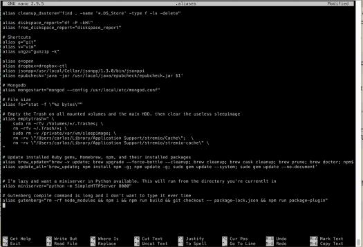 Nano editor working on aliases file