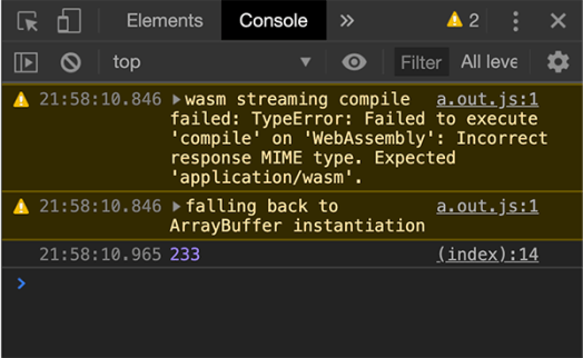 Chrome console showing warning and the results of the code