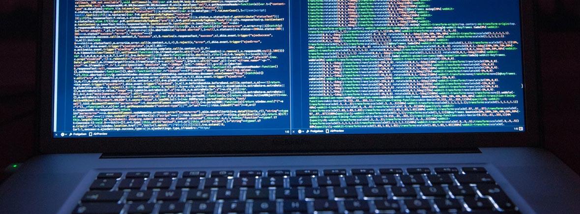 Website code on a computer screen.