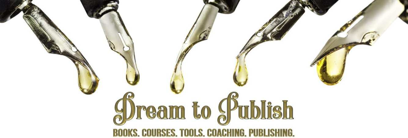 Logo for the Dream To Publish Shop with self-publishing books, course, tools, coaching.