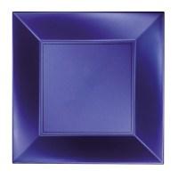 Assiette carrée 23x23cm Bleu
