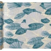 "Chemin de table ""Feuillage tropical"" Bleu canard"
