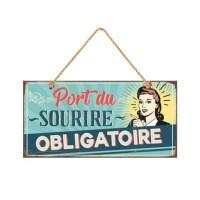 """Plaque en bois décorative """"Port du sourire"""""""