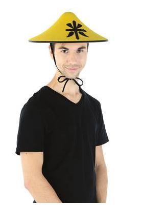 Chapeau chinois jaune et noir