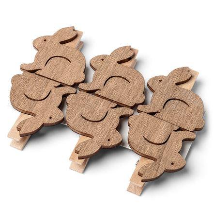6 lapin en bois sur pince.