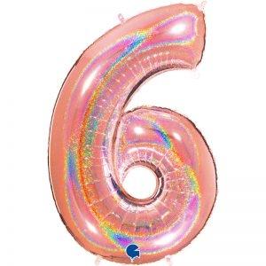 "Ballon chiffre ""6"" alu 102 cm glitter rose gold"