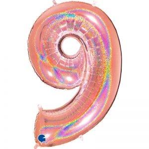 "Ballon chiffre ""9"" alu 102 cm glitter rose gold"