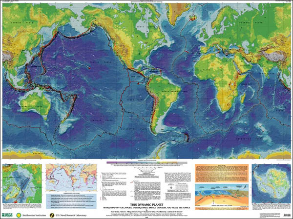World Map of Volcanoes, Earthquakes, Impact Craters, and Plate Tectonics