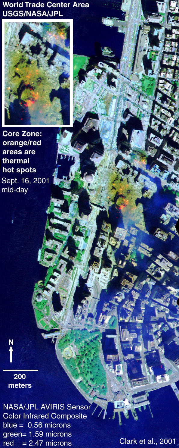 AVIRIS image of World Trade Center Site on Sept. 16, 2001
