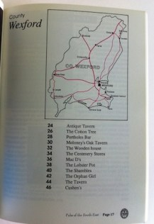 County Wexford Contents Page from the book showing the pubs covered in Wexford