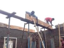 Main roof beam; Scaffolding begins!