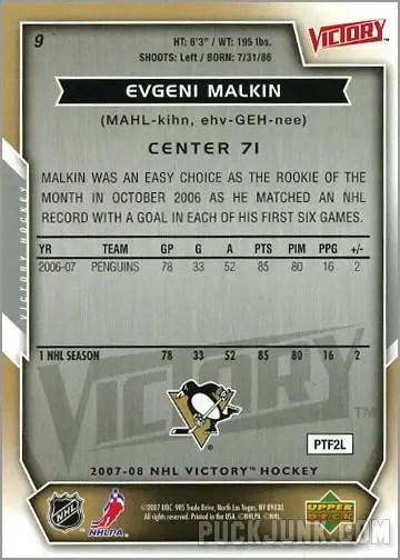 2007-08 Victory #9 - Evgeni Malkin (back)