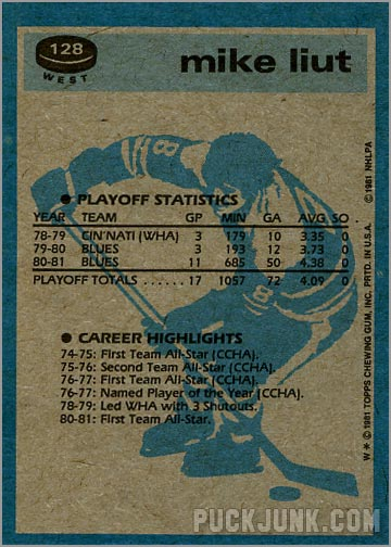 1981-82 Topps #128 West - Mike Liut / Super Action (back)