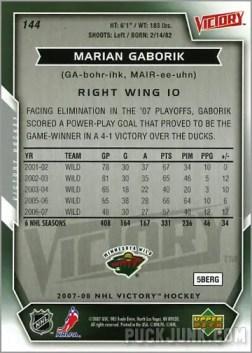 2007-08 Victory #144 - Marian Gaborik (back)