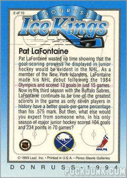 1993-94 Donruss Ice Pat Lafontaine (back)