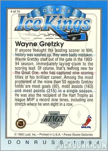 1993-94 Donruss Ice Kings Wayne Gretzky (back)