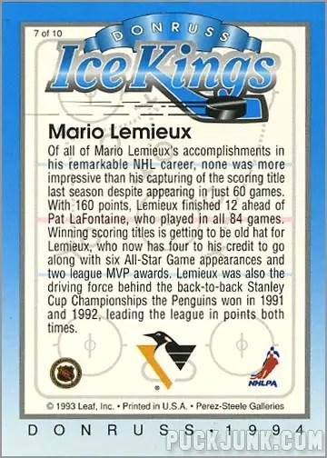 1993-94 Donruss Ice Kings Mario Lemieux (back)