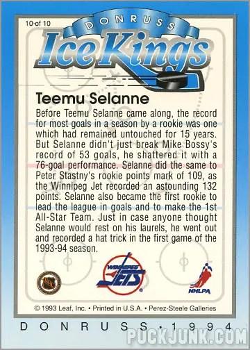 1993-94 Donruss Ice Kings Teemu Selanne (back)