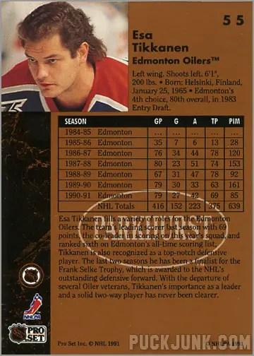 1991-92 Parkhurst #55 - Esa Tikkanen (back)