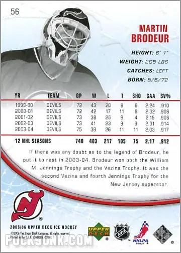 2005-06 Upper Deck Ice #56 - Martin Brodeur (back)