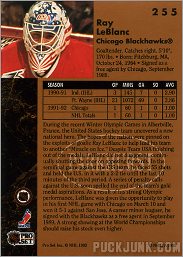 1991-92 Parkhurst #255 - Ray Leblanc (back)