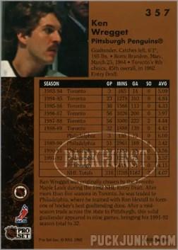 1991-92 Parkhurst #357 - Ken Wregget (back)