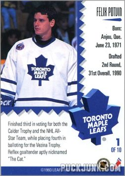 1992-93 Leaf Painted Warriors Felix Potvin (back)