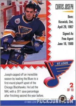 1992-93 Leaf Painted Warriors Curtsi Joseph (back)