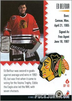 1992-93 Leaf Painted Warriors Ed Belfour (back)