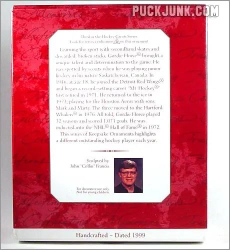 1999 Gordie Howe Ornament - box back