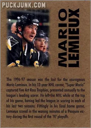 1998 Mario Lemieux Ornament - trading card back