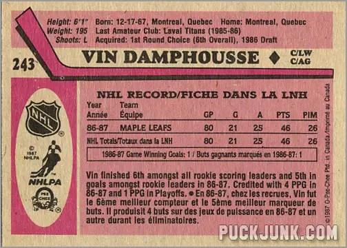 1987-88 OPC #243 - Vin Damphousse (back)