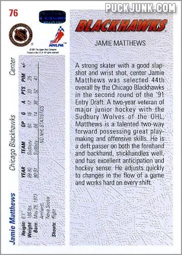 Jamie Matthews hockey card
