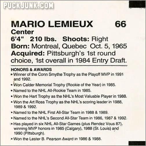 1992-93 Clark Bun Mario Lemieux #1 (back)