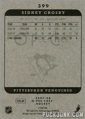 2007-08 O-Pee-Chee #399 - Sidney Crosby (back)