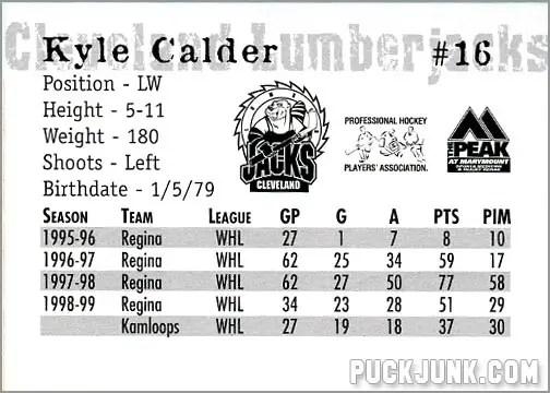 1999-00 Cleveland Lumberjacks - Kyle Calder (back)