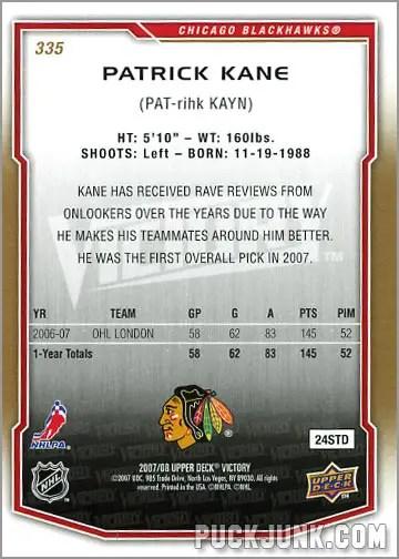 2007-08 Victory #335 - Patrick Kane (back)