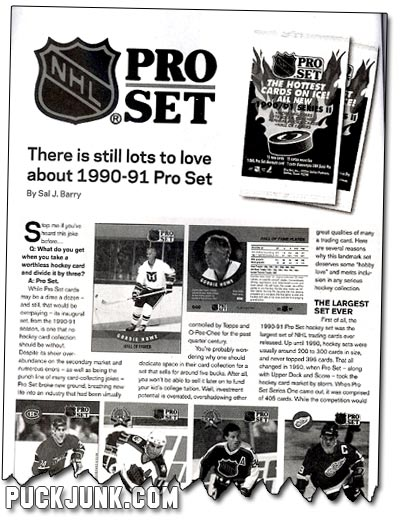 Beckett Hockey #209 - Pro Set Article