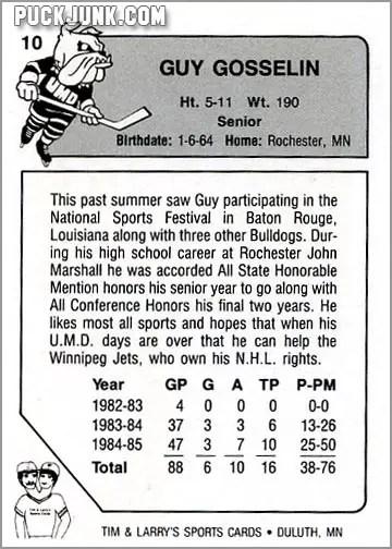 1985-86 UMD Bulldogs #10 - Guy Gosselin (back)