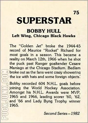 1982 Superstar card #75 - Bobby Hull